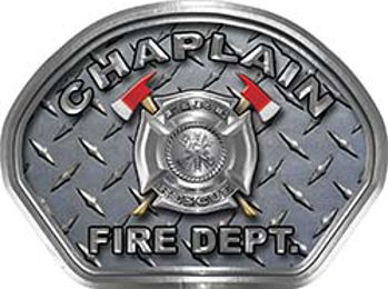 Chaplain Fire Fighter, EMS, Rescue Helmet Face Decal Reflective With Diamond Plate