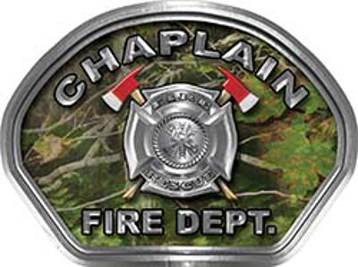 Chaplain Fire Fighter, EMS, Rescue Helmet Face Decal Reflective in Real Camo
