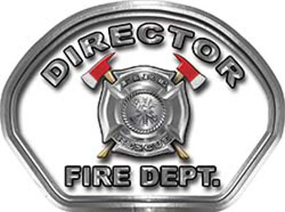 Director Fire Fighter, EMS, Rescue Helmet Face Decal Reflective in White