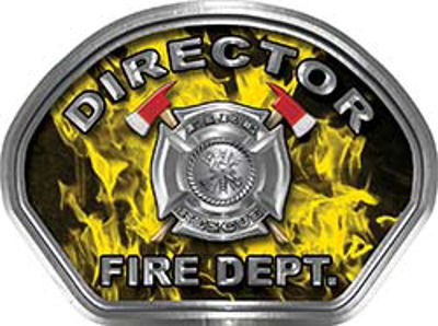 Director Fire Fighter, EMS, Rescue Helmet Face Decal Reflective in Inferno Yellow