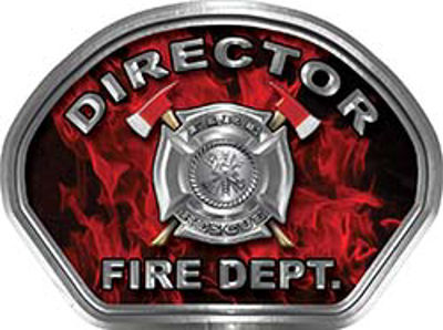 Director Fire Fighter, EMS, Rescue Helmet Face Decal Reflective in Inferno Red
