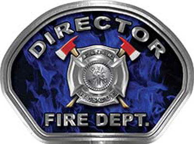 Director Fire Fighter, EMS, Rescue Helmet Face Decal Reflective in Inferno Blue