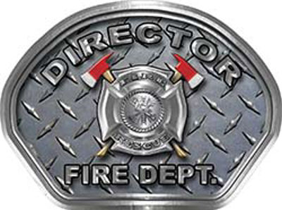 Director Fire Fighter, EMS, Rescue Helmet Face Decal Reflective With Diamond Plate