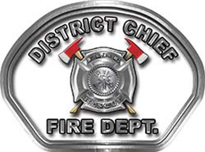 District Chief Fire Fighter, EMS, Rescue Helmet Face Decal Reflective in White