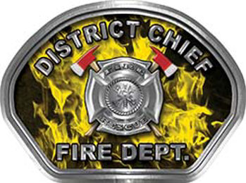 District Chief Fire Fighter, EMS, Rescue Helmet Face Decal Reflective in Inferno Yellow