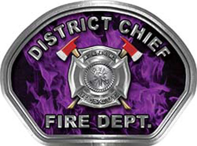 District Chief Fire Fighter, EMS, Rescue Helmet Face Decal Reflective in Inferno Purple