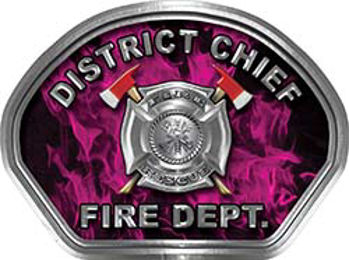 District Chief Fire Fighter, EMS, Rescue Helmet Face Decal Reflective in Inferno Pink