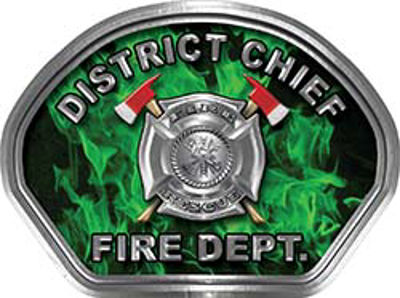 District Chief Fire Fighter, EMS, Rescue Helmet Face Decal Reflective in Inferno Green