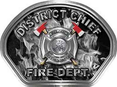 District Chief Fire Fighter, EMS, Rescue Helmet Face Decal Reflective in Inferno Gray