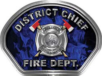 District Chief Fire Fighter, EMS, Rescue Helmet Face Decal Reflective in Inferno Blue