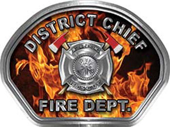 District Chief Fire Fighter, EMS, Rescue Helmet Face Decal Reflective in Inferno Real Flames