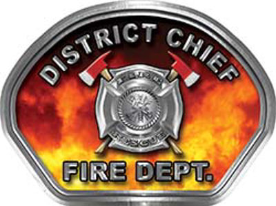 District Chief Fire Fighter, EMS, Rescue Helmet Face Decal Reflective in Real Fire
