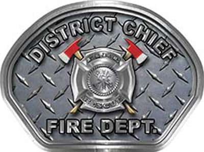 District Chief Fire Fighter, EMS, Rescue Helmet Face Decal Reflective With Diamond Plate