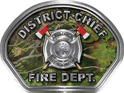 District Chief Fire Fighter, EMS, Rescue Helmet Face Decal Reflective in Real Camo