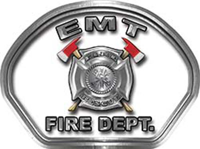 EMT Fire Fighter, EMS, Rescue Helmet Face Decal Reflective in White