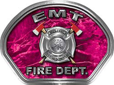 EMT Fire Fighter, EMS, Rescue Helmet Face Decal Reflective in Pink Camo