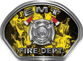 EMT Fire Fighter, EMS, Rescue Helmet Face Decal Reflective in Inferno Yellow