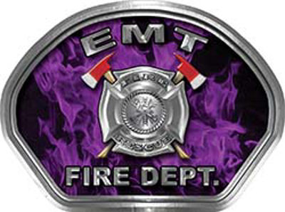 EMT Fire Fighter, EMS, Rescue Helmet Face Decal Reflective in Inferno Purple