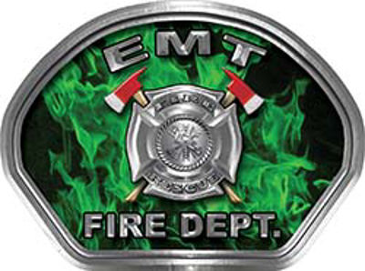 EMT Fire Fighter, EMS, Rescue Helmet Face Decal Reflective in Inferno Green