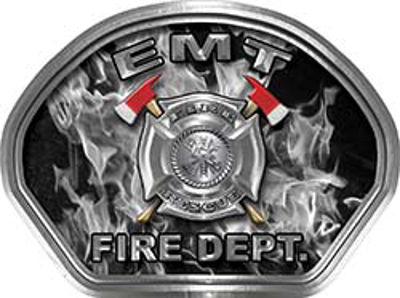 EMT Fire Fighter, EMS, Rescue Helmet Face Decal Reflective in Inferno Gray