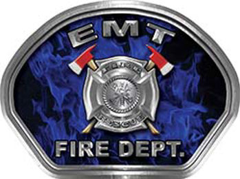 EMT Fire Fighter, EMS, Rescue Helmet Face Decal Reflective in Inferno Blue