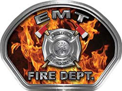 EMT Fire Fighter, EMS, Rescue Helmet Face Decal Reflective in Inferno Real Flames