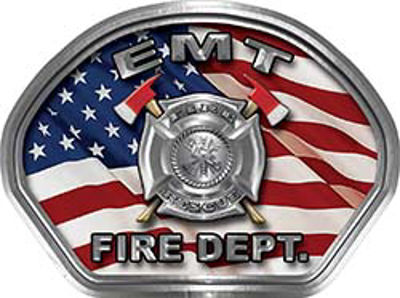 EMT Fire Fighter, EMS, Rescue Helmet Face Decal Reflective With American Flag