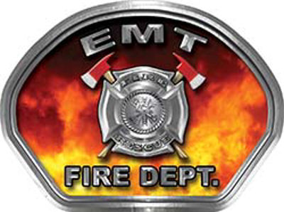 EMT Fire Fighter, EMS, Rescue Helmet Face Decal Reflective in Real Fire