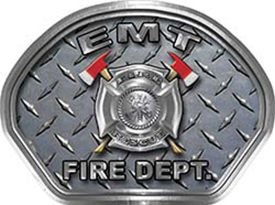 EMT Fire Fighter, EMS, Rescue Helmet Face Decal Reflective With Diamond Plate