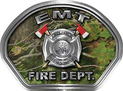 EMT Fire Fighter, EMS, Rescue Helmet Face Decal Reflective in Real Camo