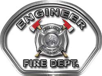 Engineer Fire Fighter, EMS, Rescue Helmet Face Decal Reflective in White