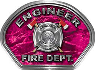 Engineer Fire Fighter, EMS, Rescue Helmet Face Decal Reflective in Pink Camo