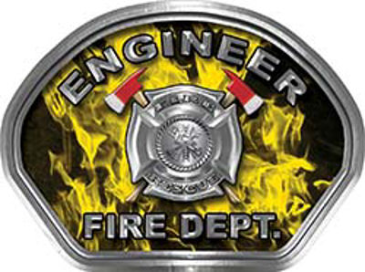Engineer Fire Fighter, EMS, Rescue Helmet Face Decal Reflective in Inferno Yellow