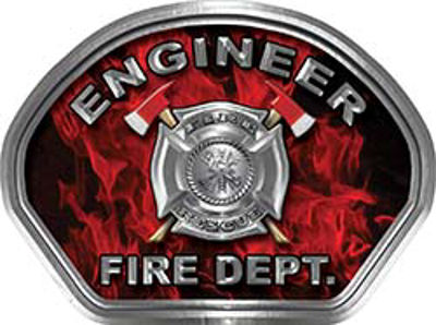 Engineer Fire Fighter, EMS, Rescue Helmet Face Decal Reflective in Inferno Red