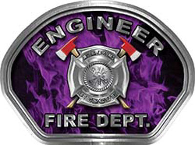 Engineer Fire Fighter, EMS, Rescue Helmet Face Decal Reflective in Inferno Purple