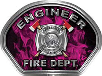 Engineer Fire Fighter, EMS, Rescue Helmet Face Decal Reflective in Inferno Pink