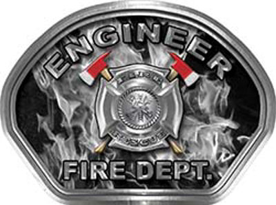 Engineer Fire Fighter, EMS, Rescue Helmet Face Decal Reflective in Inferno Gray