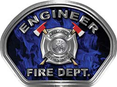 Engineer Fire Fighter, EMS, Rescue Helmet Face Decal Reflective in Inferno Blue