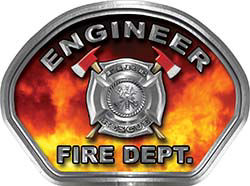 Engineer Fire Fighter, EMS, Rescue Helmet Face Decal Reflective in Real Fire