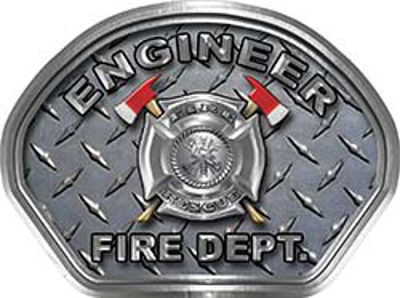 Engineer Fire Fighter, EMS, Rescue Helmet Face Decal Reflective With Diamond Plate
