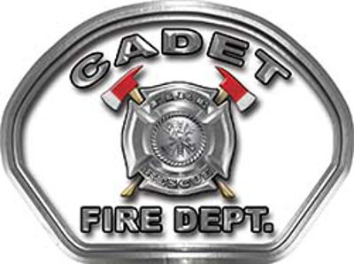 Cadet Fire Fighter, EMS, Rescue Helmet Face Decal Reflective in White