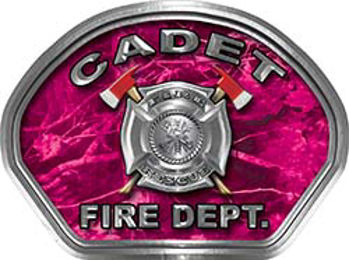Cadet Fire Fighter, EMS, Rescue Helmet Face Decal Reflective in Pink Camo