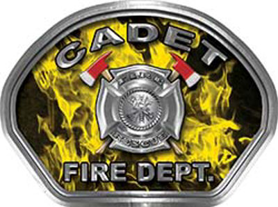 Cadet Fire Fighter, EMS, Rescue Helmet Face Decal Reflective in Inferno Yellow