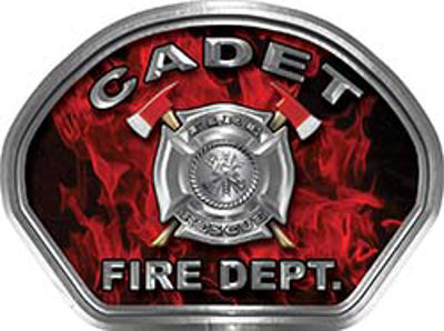 Cadet Fire Fighter, EMS, Rescue Helmet Face Decal Reflective in Inferno Red