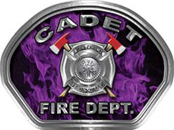 Cadet Fire Fighter, EMS, Rescue Helmet Face Decal Reflective in Inferno Purple