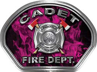 Cadet Fire Fighter, EMS, Rescue Helmet Face Decal Reflective in Inferno Pink