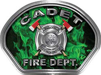 Cadet Fire Fighter, EMS, Rescue Helmet Face Decal Reflective in Inferno Green