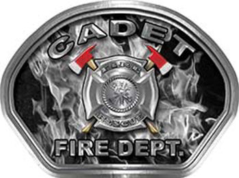 Cadet Fire Fighter, EMS, Rescue Helmet Face Decal Reflective in Inferno Gray