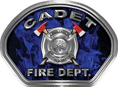 Cadet Fire Fighter, EMS, Rescue Helmet Face Decal Reflective in Inferno Blue