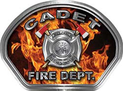 Cadet Fire Fighter, EMS, Rescue Helmet Face Decal Reflective in Inferno Real Flames